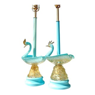 Vntage Murano Glass Swan Table Lamps Blue For Sale