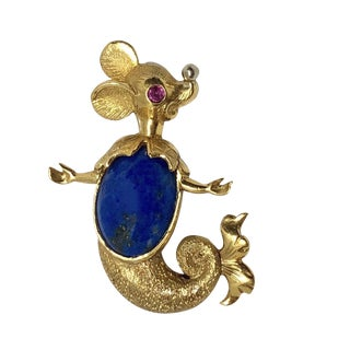 Vintage 18k Gold Lapis Lazuli Ruby Mermaid Mouse Pin For Sale