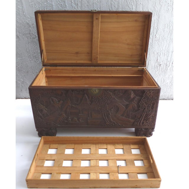 Chinese Teak & Cedar Carved Chest For Sale - Image 5 of 13