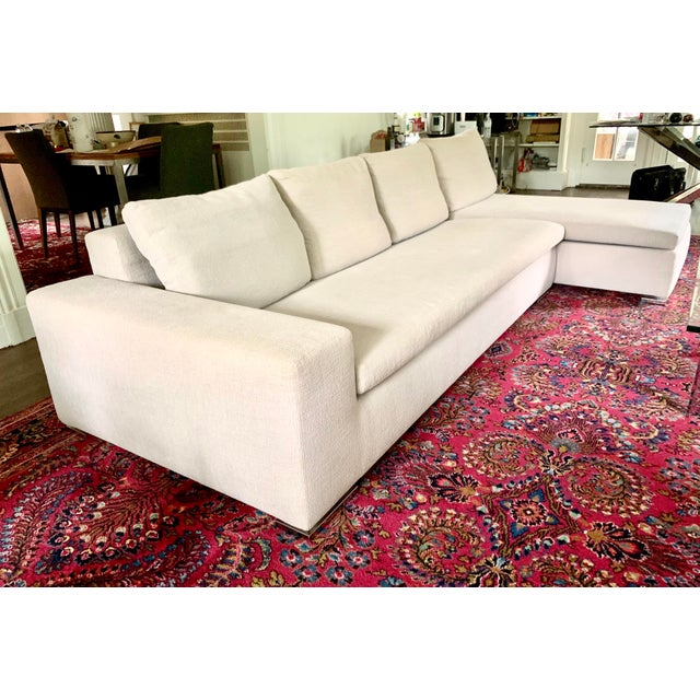 Modern Italian Minotti Sectional Sofa With Chaise For Sale - Image 3 of 12