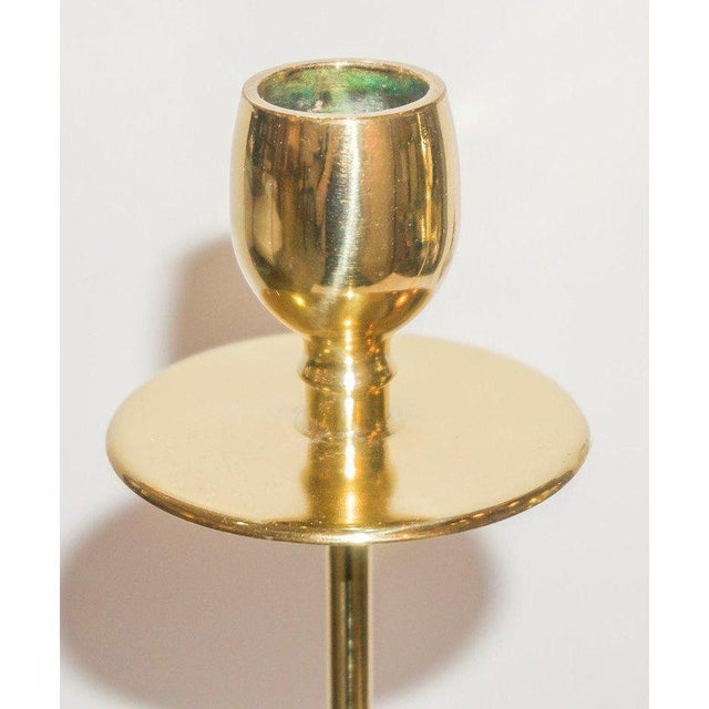 Art Deco Art Deco 1930s Brass Candlesticks From England - a Pair For Sale - Image 3 of 9