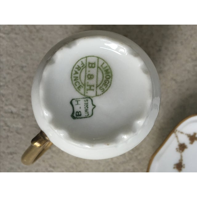 Antique Green, Gold & White Teacup & Saucer - Image 5 of 5