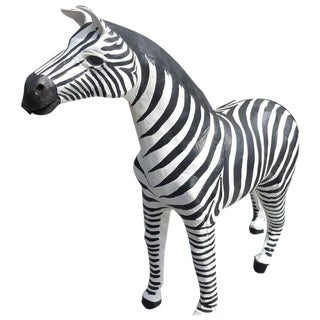 Handmade Paper Mache Zebra Leather Figurine