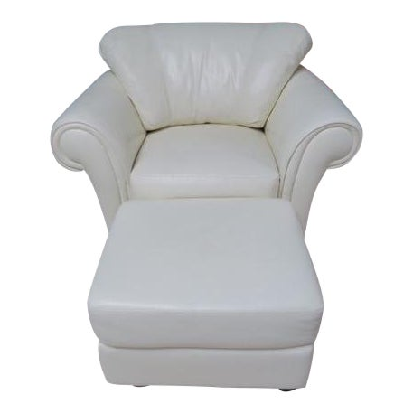 Art Deco White Leather Chair & Ottoman - 2 Pieces For Sale