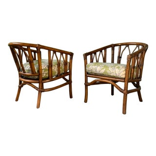 Pair of Bamboo Club Chairs in the Style of McGuire For Sale