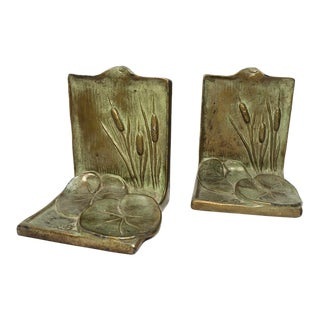 Art Noveau Lilypad & Cattail Bookends - a Pair For Sale
