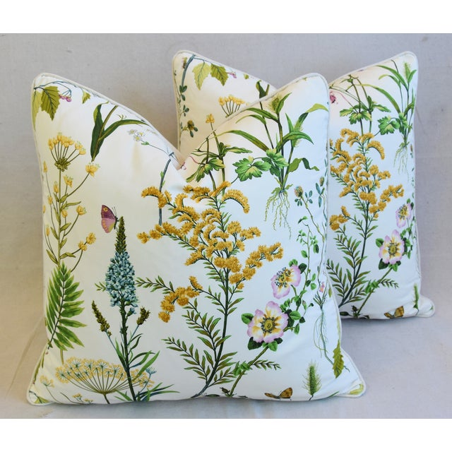 "Wildflower Botanical Cotton & Linen Feather/Down Pillows 24"" Square - Pair For Sale - Image 12 of 13"