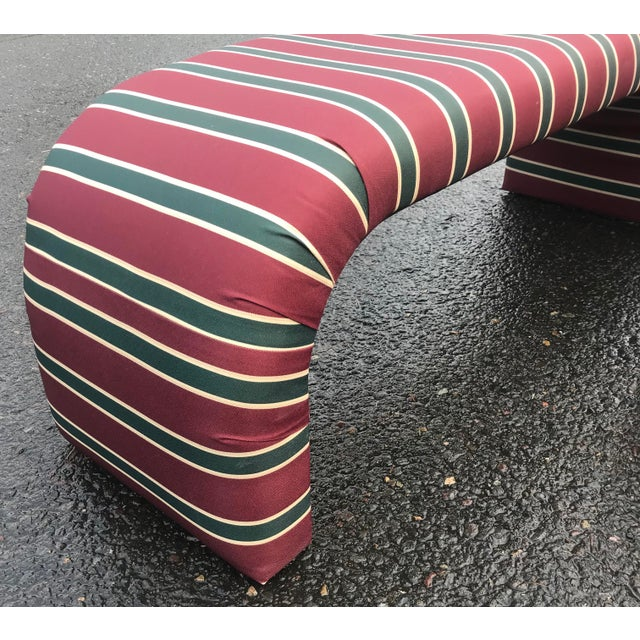 1980s Striped Upholstered Waterfall Benches -A Pair - Image 3 of 8