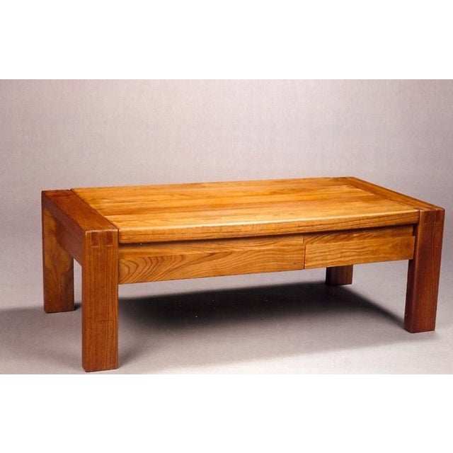 Metal French 1960s Pierre Chapo Crafted Oak Coffee Table For Sale - Image 7 of 7