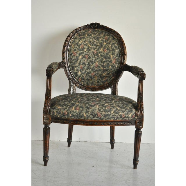 Vintage french louis xvi style carved walnut fireside arm chair fauteuil image 3 of 11