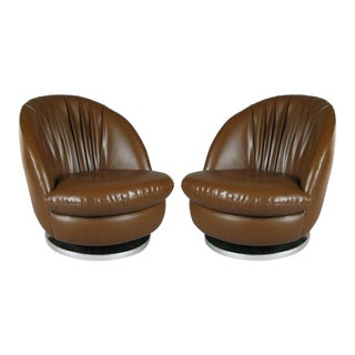 Milo Baughman Brown Tilt and Swivel Lounge Chairs - A Pair For Sale