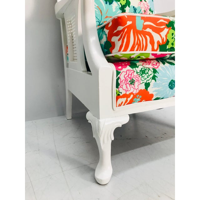 1960s Vintage Caned Wing Chair With Lilly Pulitzer Outdoor Fabric For Sale - Image 5 of 8