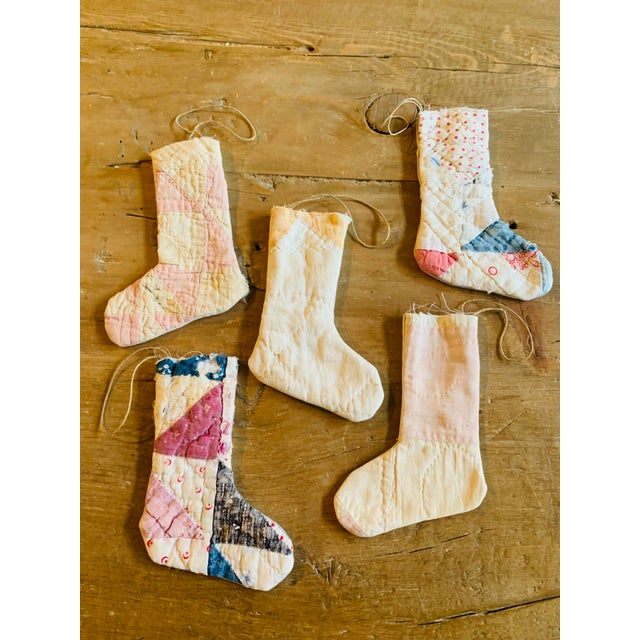 Vintage Textile Handmade Stocking Ornaments - Set of 5 For Sale In Columbus - Image 6 of 6