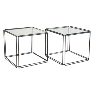 Pair of Max Sauze Black Side Tables, 1960's For Sale
