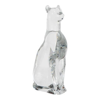 Baccarat Glass Paperweight of an Egyptian Cat