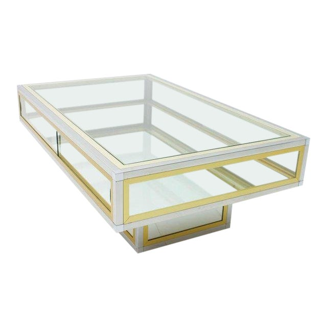 Vitrine Coffee Table in Chrome, Brass and Glass, France 1970s For Sale