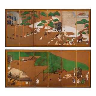 Tawaraya Sōtatsu, Genji Monogatari Japanese Screens - a Pair For Sale
