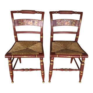 Authentic Hitchcock by Lock Rush Bottom Auburn Harvest Side Chairs - a Pair For Sale