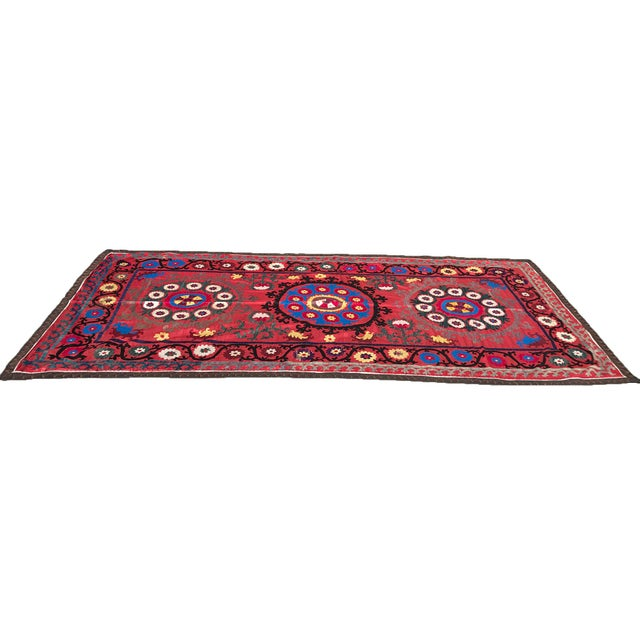 Boho Chic Antique Handmade Suzani Tapestry For Sale - Image 3 of 5