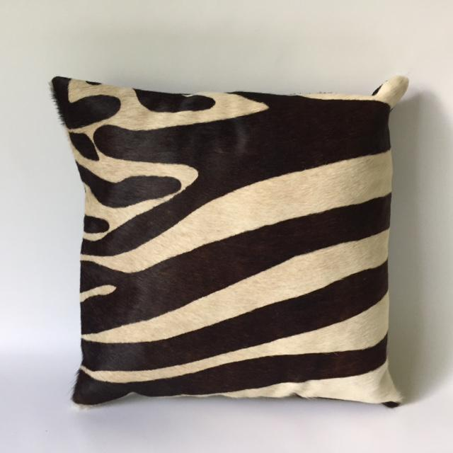 Zebra Printed Hide Pillows - a Pair - Image 6 of 8