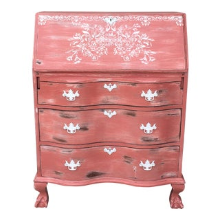 1960s French Country Drop Front Pink Secretary Desk For Sale