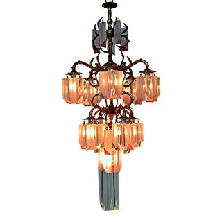 French Brass Chandelier with Lucite Prisms For Sale
