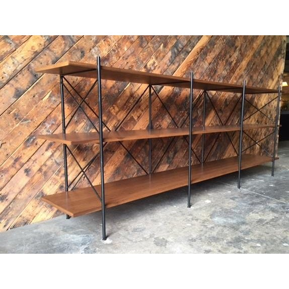 Custom Handmade Iron & Walnut Shelf - Image 4 of 5