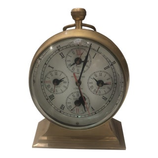Vintage Nautical Brass World Clock