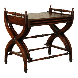 Maitland Smith Regency Style X Base Mahogany Leather Top Nesting Tray Tables For Sale