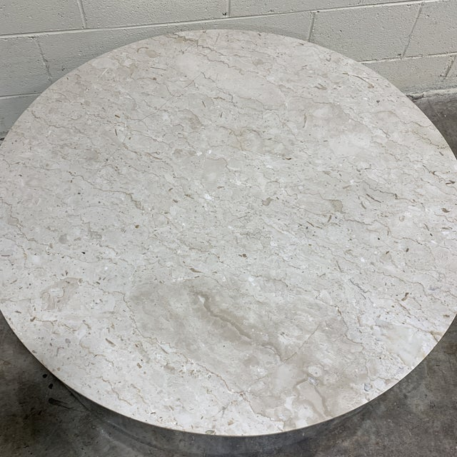 1970s 1970s Pace Carrara Marble & Chrome Drum Coffee Table For Sale - Image 5 of 11