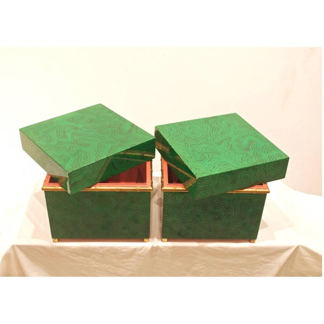Hollywood Regency Faux Malachite Boxes - a Pair For Sale - Image 3 of 11