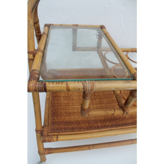 Vintage Small Rolling Wicker & Rattan Tea Cart For Sale - Image 9 of 11