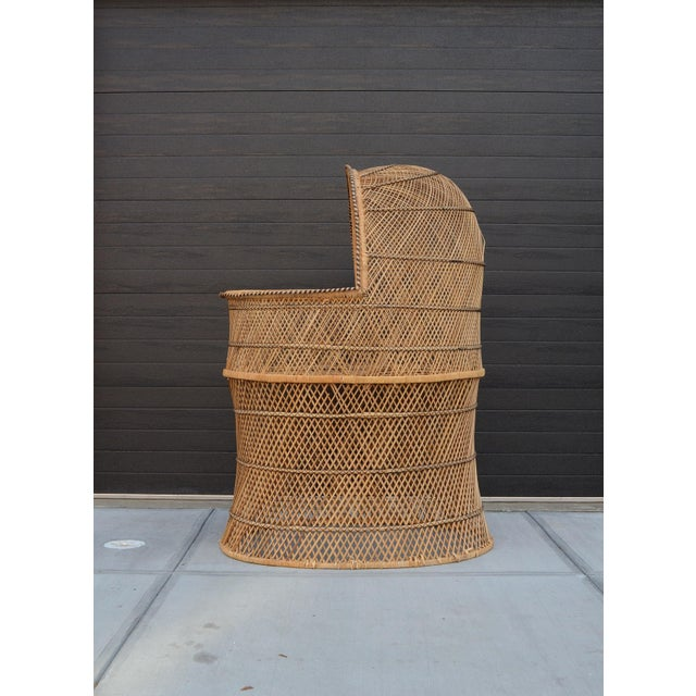 Boho Chic Vintage Woven Wicker Freestanding Bassinet For Sale - Image 3 of 9