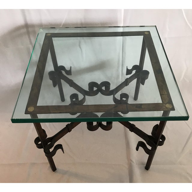 Mid-Century Modern 1960's Mid Century Modern Marshall Fields Spanish Revival Style Wrought Iron Side Table For Sale - Image 3 of 10