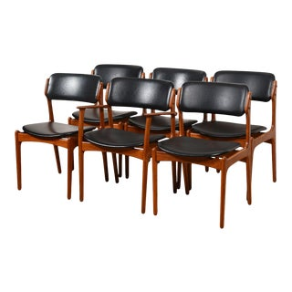 Set of 6 (1 Arm + 5 Side) Teak Dining Chairs by Erik Buch For Sale