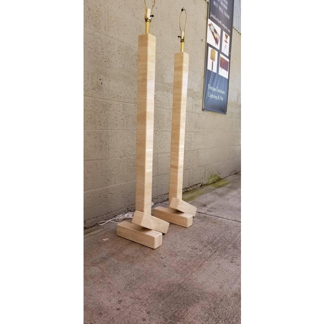 Late 20th Century Pair of Marble Travertine Floor Lamps For Sale - Image 5 of 10