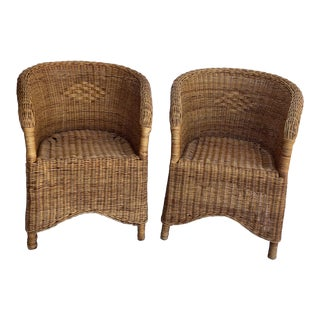 Mid-Century French Wicker Chairs - a Pair For Sale