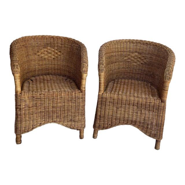 Terrific Mid Century French Wicker Chairs A Pair Download Free Architecture Designs Intelgarnamadebymaigaardcom