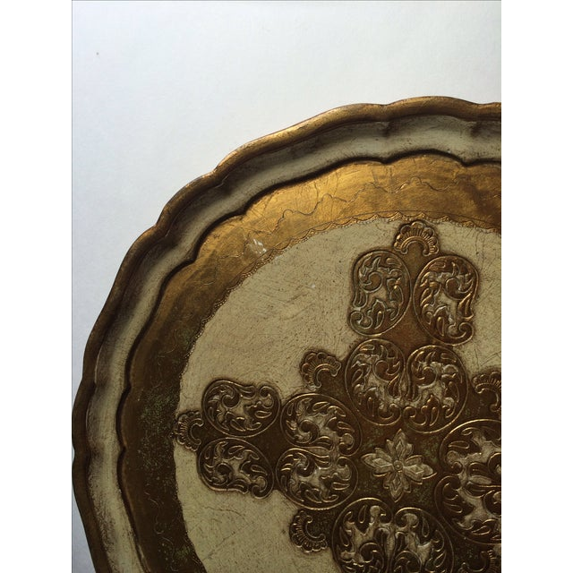 Florentine Vintage Florentine Carved Gold and Cream Tray For Sale - Image 4 of 6