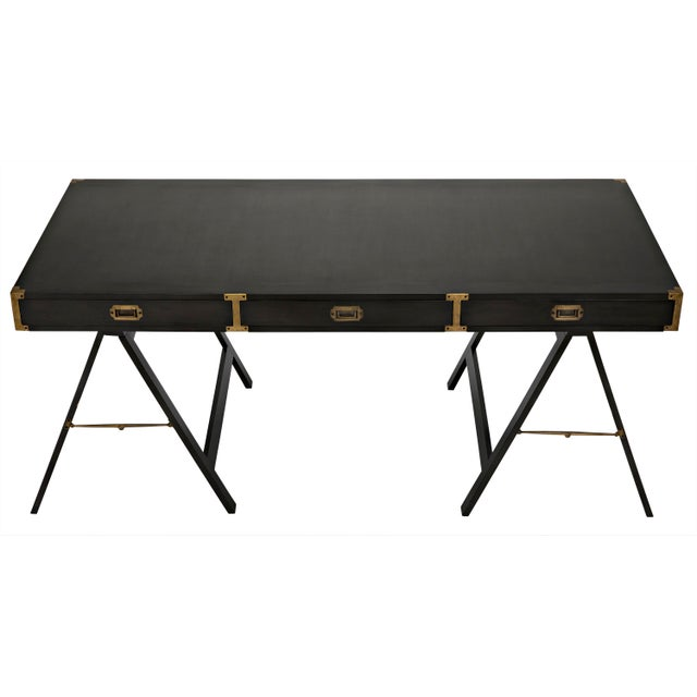 Mid-Century Modern Campaign Desk, Pale For Sale - Image 3 of 8