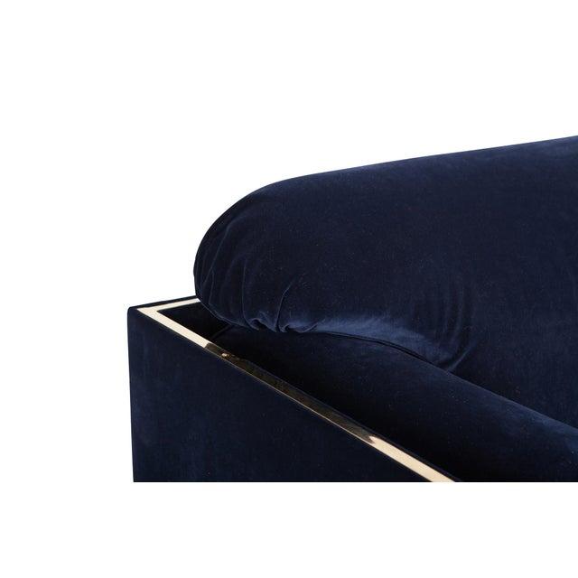 Brass Italian Glam Armchairs in Dark Blue Velvet & Brass For Sale - Image 7 of 10