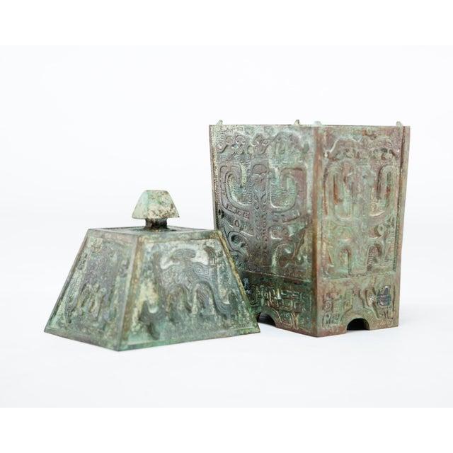 Late 20th Century 20th Century Chinese Lawrence & Scott Verdigris Bronze Wine Box For Sale - Image 5 of 9