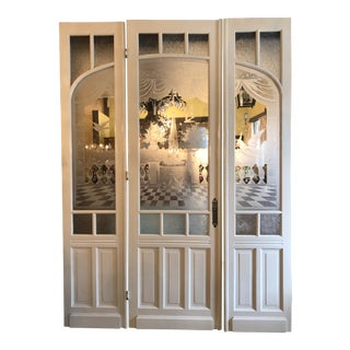 19th Century Hand Cut Glass Doors - Set of 3 For Sale