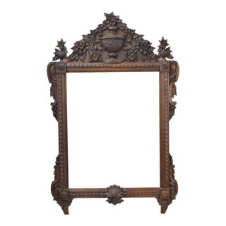 LaBarge Antique Heavily Carved Wood Mirror Urn and Swag Mot