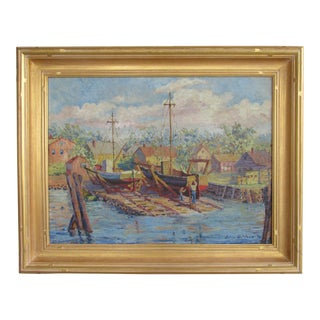 """1920s Vintage Julia Smith """"New Bedford Boatyard"""" Painting For Sale"""