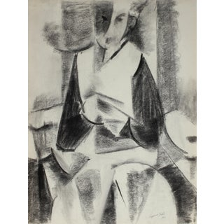 Abstracted Cubist Portrait in Charcoal, 1948