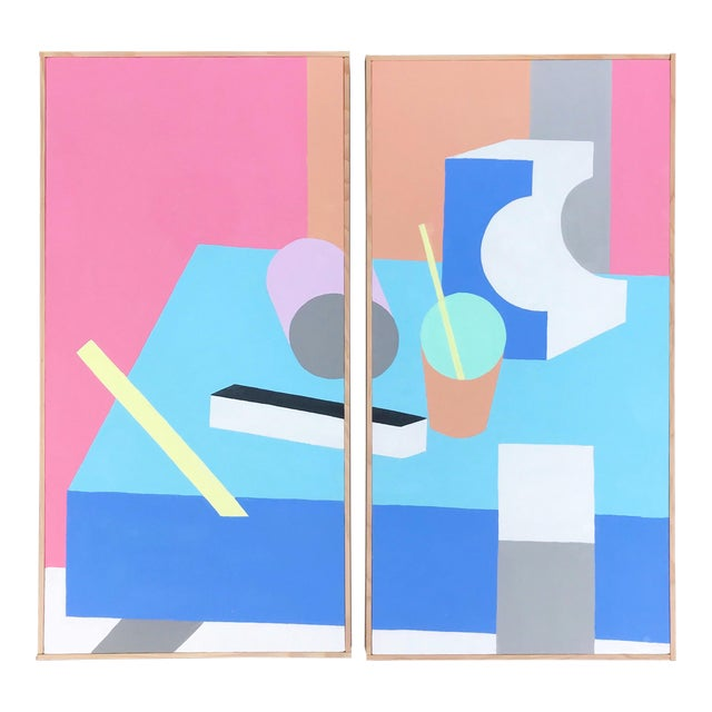 Colorful Post Modern Hard Edge Diptych Paintings by J. Marquis, a Pair For Sale