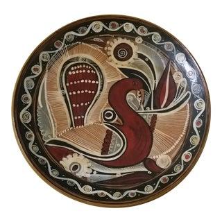 Vintage Mexican Folk Art Redware Bird Plate For Sale