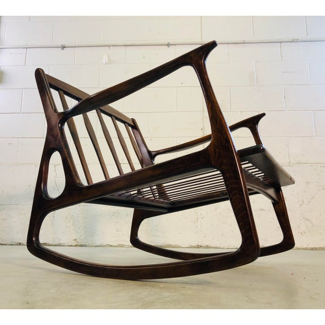 Vintage Italian Beech Wood Rocking Chair For Sale - Image 11 of 13