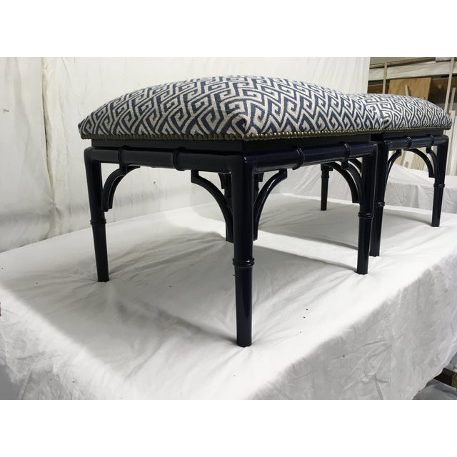 Hollywood Regency Tomlinson Faux Bamboo Benches, a Pair For Sale - Image 3 of 8